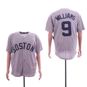 Red Sox 9 Ted Williams Gray Cooperstown Collection Cool Base Jersey