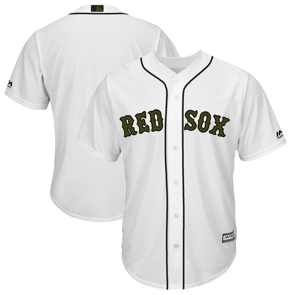 Red Sox Blank White 2018 Memorial Day Cool Base Jersey