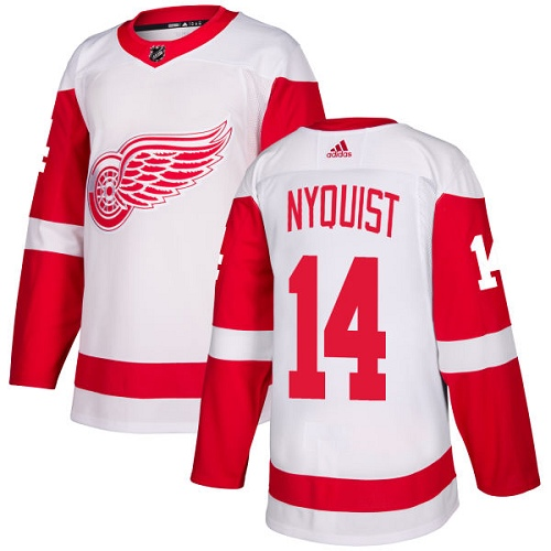 Red Wings #14 Gustav Nyquist White Road Authentic Stitched Hockey Jersey