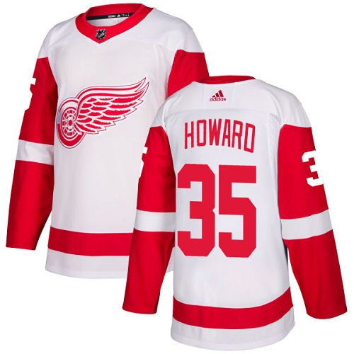 Red Wings #35 Jimmy Howard White Road Authentic Stitched Hockey Jersey