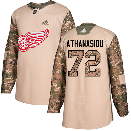 Red Wings #72 Andreas Athanasiou Camo Authentic 2017 Veterans Day Stitched Hockey Jersey