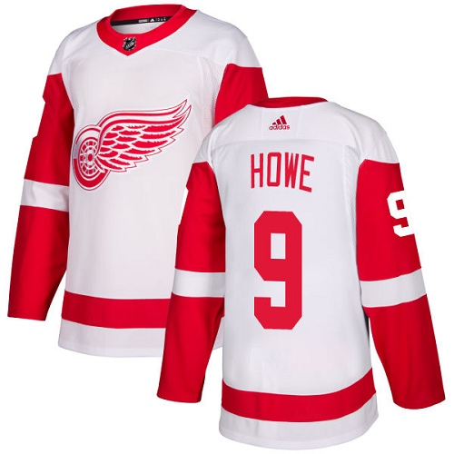 Red Wings #9 Gordie Howe White Road Authentic Stitched Hockey Jersey