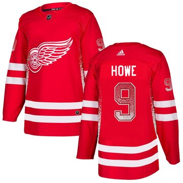 Red Wings 9 Gordie Howe Red Drift Fashion Adidas Jersey