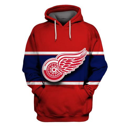 Red Wings Red All Stitched Hooded Sweatshirt