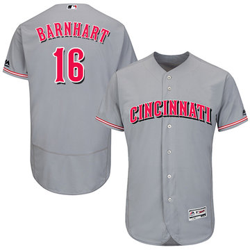Reds #16 Tucker Barnhart Grey Flexbase Authentic Collection Stitched Baseball Jersey