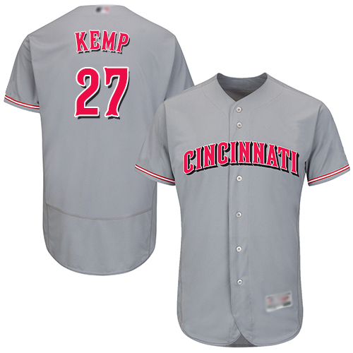 Reds #27 Matt Kemp Grey Flexbase Authentic Collection Stitched Baseball Jersey