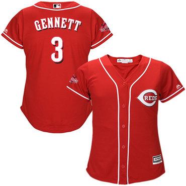 Reds #3 Scooter Gennett Red Alternate Women's Stitched MLB Jersey