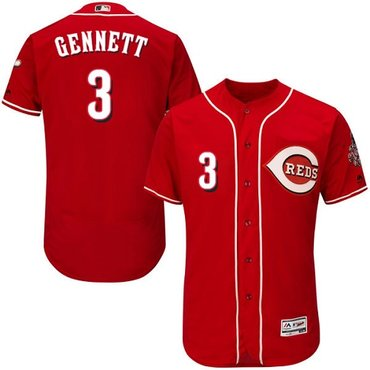 Reds #3 Scooter Gennett Red Flexbase Authentic Collection Stitched MLB Jersey