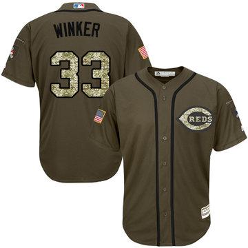 Reds #33 Jesse Winker Green Salute to Service Stitched Baseball Jersey