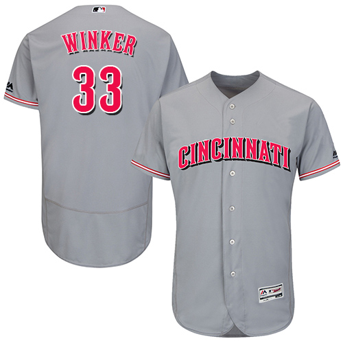Reds #33 Jesse Winker Grey Flexbase Authentic Collection Stitched Baseball Jersey