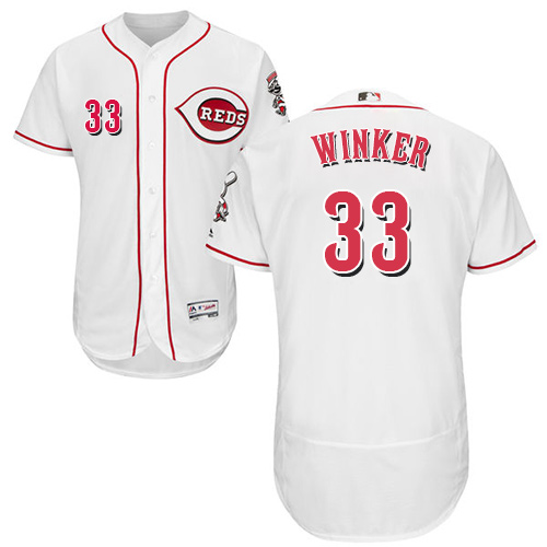 Reds #33 Jesse Winker White Flexbase Authentic Collection Stitched Baseball Jersey