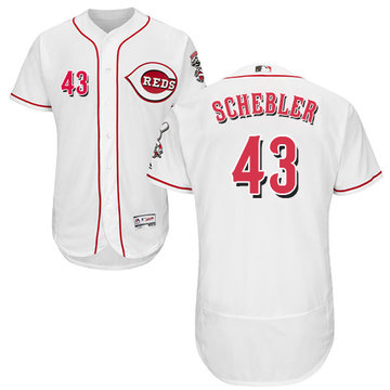 Reds #43 Scott Schebler White Flexbase Authentic Collection Stitched Baseball Jersey