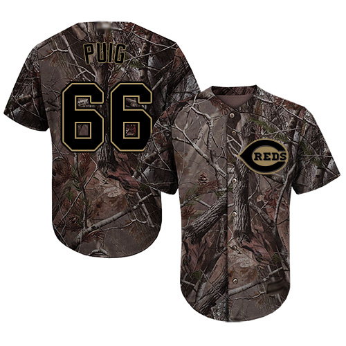 Reds #66 Yasiel Puig Camo Realtree Collection Cool Base Stitched Youth Baseball Jersey
