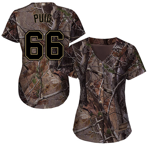 Reds #66 Yasiel Puig Camo Realtree Collection Cool Base Women's Stitched Baseball Jersey