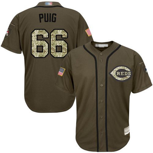Reds #66 Yasiel Puig Green Salute to Service Stitched Baseball Jersey