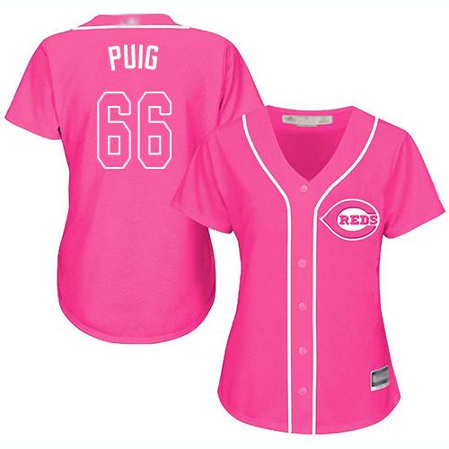 Reds #66 Yasiel Puig Pink Fashion Women's Stitched Baseball Jersey