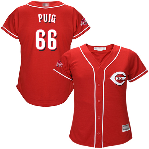 Reds #66 Yasiel Puig Red Alternate Women's Stitched Baseball Jersey