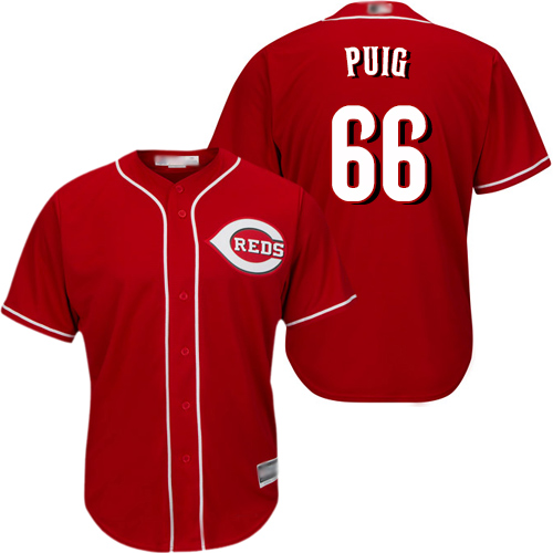 Reds #66 Yasiel Puig Red Cool Base Stitched Youth Baseball Jersey