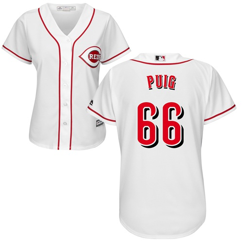 Reds #66 Yasiel Puig White Home Women's Stitched Baseball Jersey
