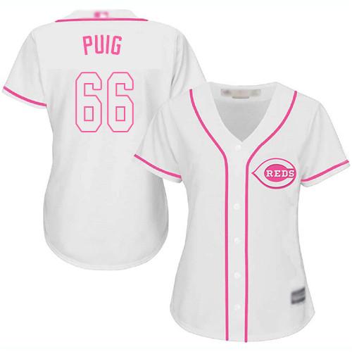 Reds #66 Yasiel Puig White Pink Fashion Women's Stitched Baseball Jersey