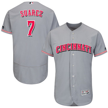Reds #7 Eugenio Suarez Grey Flexbase Authentic Collection Stitched Baseball Jersey