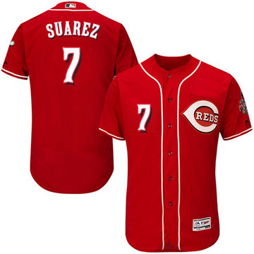 Reds #7 Eugenio Suarez Red Flexbase Authentic Collection Stitched Baseball Jersey
