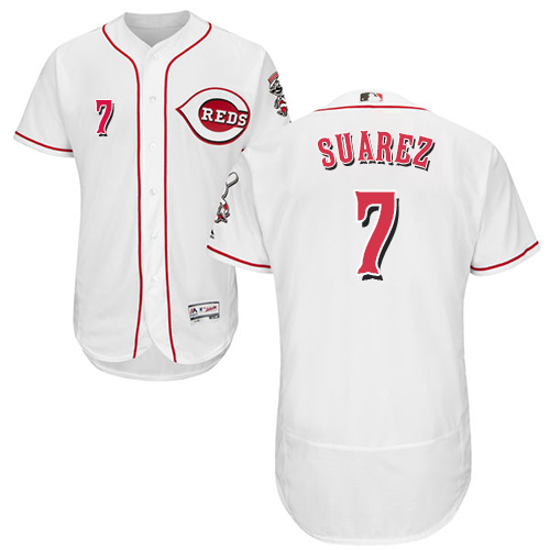 Reds #7 Eugenio Suarez White Flexbase Authentic Collection Stitched Baseball Jersey