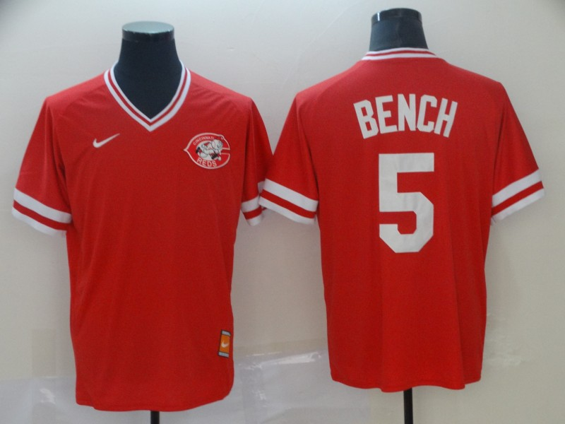 Reds 5 Johnny Bench Red Throwback Jersey
