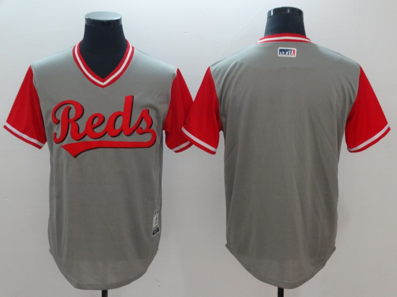 Reds Blank Gray 2018 Players' Weekend Cool Base Jersey