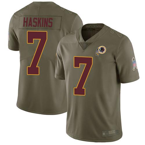 Redskins #7 Dwayne Haskins Olive Men's Stitched Football Limited 2017 Salute To Service Jersey