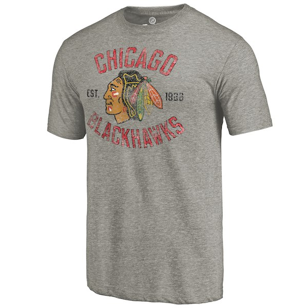 Rinkside Chicago Blackhawks GrayHeritage Tri Blend T-Shirt