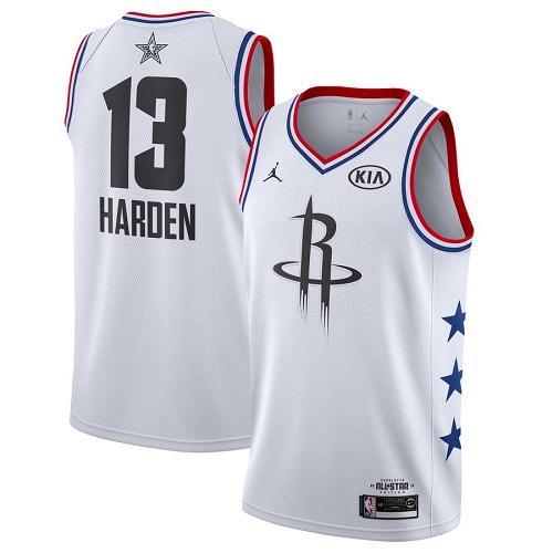 Rockets #13 James Harden White Basketball Jordan Swingman 2019 All-Star Game Jersey
