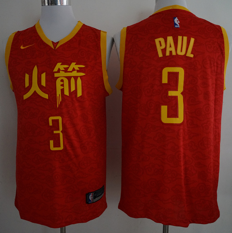 Rockets 3 Chris Paul Red 2018-19 Nike City Edition Nike Swingman Jersey
