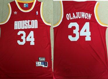 Rockets 34 Hakeem Olajuwon Red Hardwood Classics Jersey
