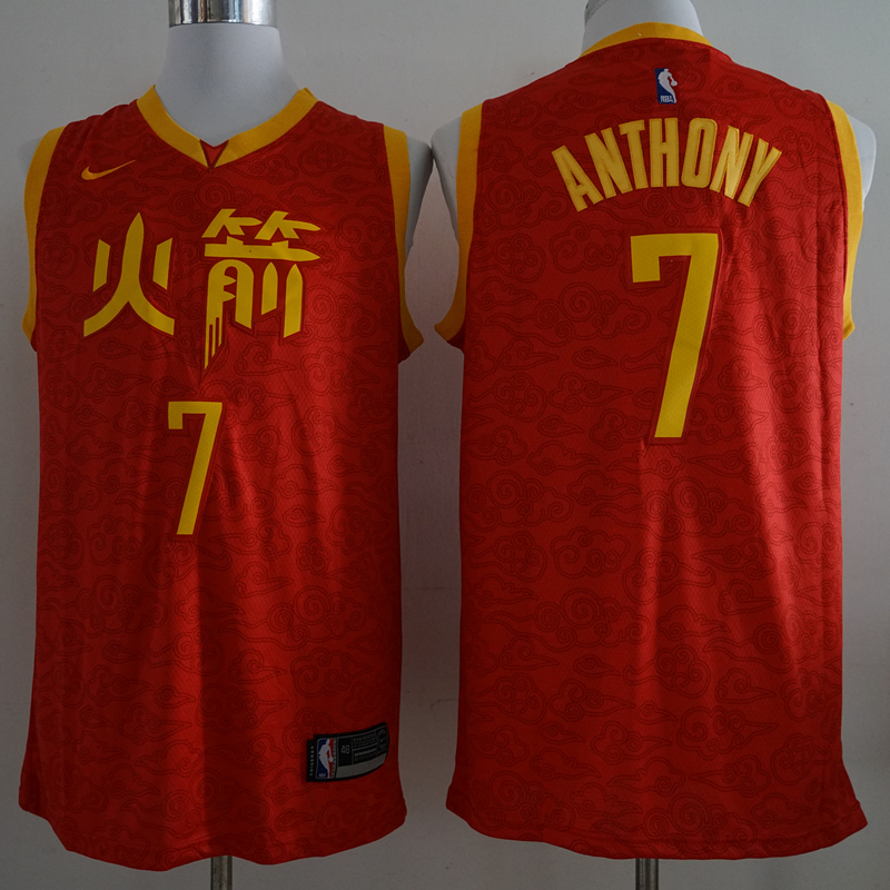 Rockets 7 Carmelo Anthony Red 2018-19 City Edition Nike Swingman Jersey