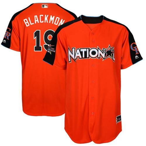 Rockies #19 Charlie Blackmon Orange 2017 All-Star National League Stitched MLB Jersey