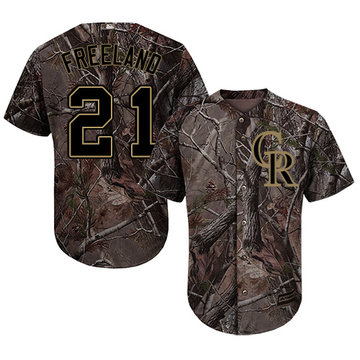 Rockies #21 Kyle Freeland Camo Realtree Collection Cool Base Stitched Baseball Jersey