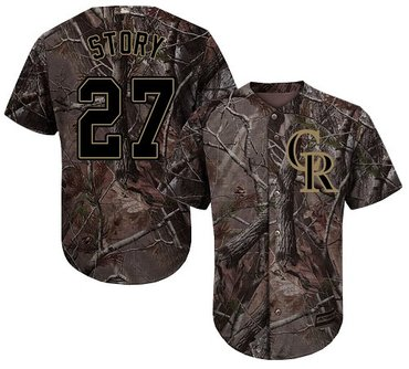 Rockies #27 Trevor Story Camo Realtree Collection Cool Base Stitched Baseball Jersey