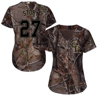 Rockies #27 Trevor Story Camo Realtree Collection Cool Base Women's Stitched Baseball Jersey