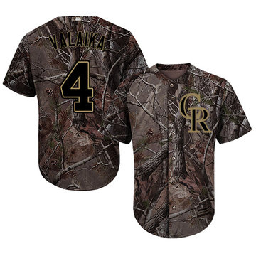 Rockies #4 Pat Valaika Camo Realtree Collection Cool Base Stitched Baseball Jersey