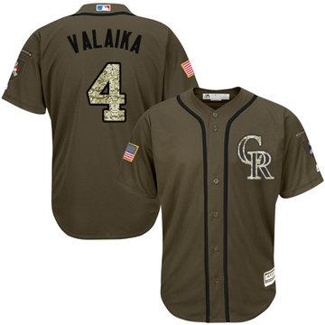 Rockies #4 Pat Valaika Green Salute to Service Stitched Baseball Jersey