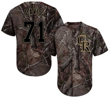 Rockies #71 Wade Davis Camo Realtree Collection Cool Base Stitched Baseball Jersey