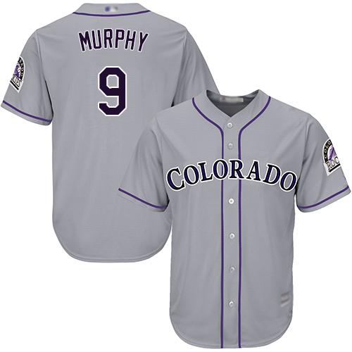 Rockies #9 Daniel Murphy Grey Cool Base Stitched Youth Baseball Jersey