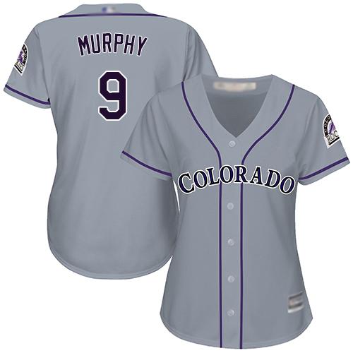 Rockies #9 Daniel Murphy Grey Road Women's Stitched Baseball Jersey