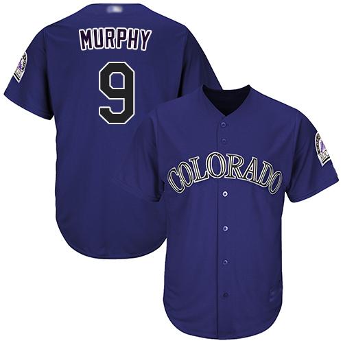 Rockies #9 Daniel Murphy Purple Cool Base Stitched Youth Baseball Jersey