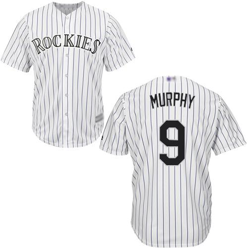 Rockies #9 Daniel Murphy White Strip New Cool Base Stitched Baseball Jersey