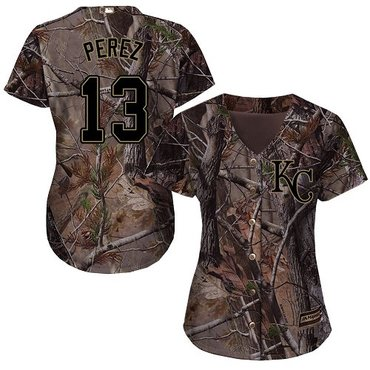 Royals #13 Salvador Perez Camo Realtree Collection Cool Base Women's Stitched Baseball Jersey