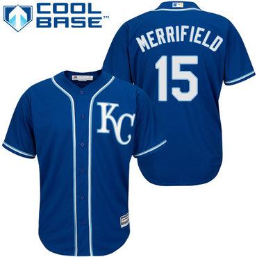 Royals #15 Whit Merrifield Royal Blue New Cool Base Alternate 2 Stitched Baseball Jersey