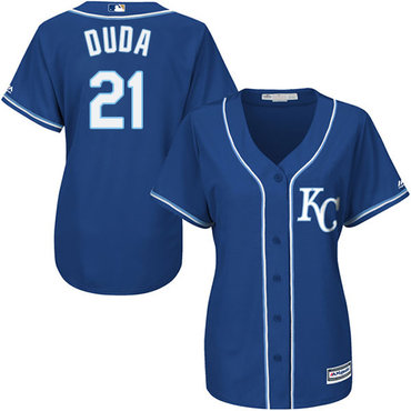 Royals #21 Lucas Duda Blue Alternate 2 Women's Stitched MLB Jersey