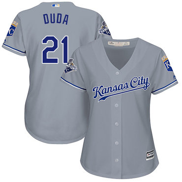 Royals #21 Lucas Duda Grey Road Women's Stitched MLB Jersey